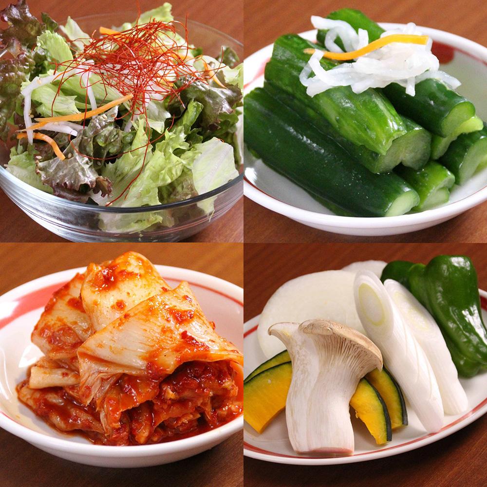 山水縁が提供する新鮮な野菜やキムチ